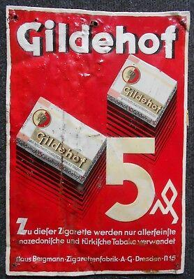 Gildehof Zigaretten altes Blechschild um 1930 aus Dresden