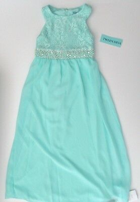 NWT Tween Diva Lace Beaded Embellished Waist Maxi Dress Evening Gown Sz 7 8 NEW