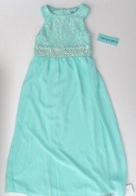 NWT Tween Diva Lace Beaded Embellished Waist Maxi Dress Evening Gown Sz 7 8 NEW - Tween Winter Dresses