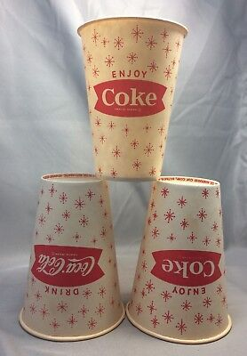 3 1960s Drink COCA-COLA Enjoy COKE Adv Soda Fishtail Paper Cups Vintage Original