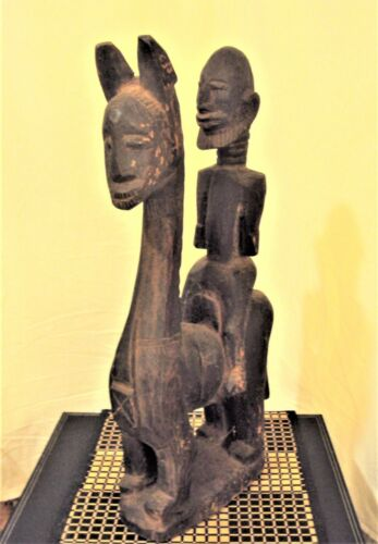 RARE DOGON EQUESTRIAN KING Horse Statue African Carving!!