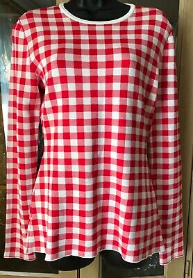 Pringle of Scotland Gingham Red and White check top jumper Size M -BNWT