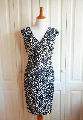 Lauren Ralph Lauren Women's Sleeveless Ruched Navy Blue Animal Print Sz 8 Dress