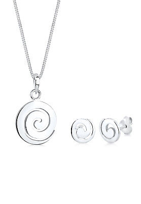 Basic Schmuckset Spirale 925 Sterling Silber Elli Damen Set Ohrringe Halskette