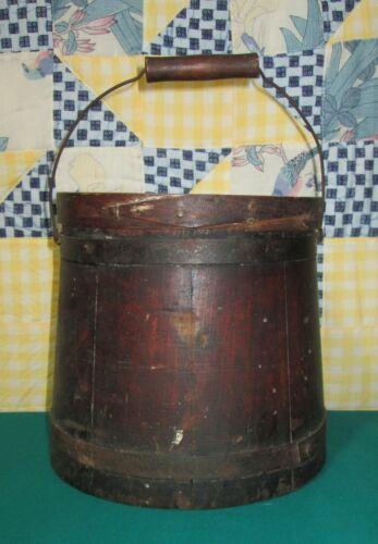 Vtg Antique Wood Sugar Bucket w/Lid Primitive Firkin Bail Handle Cover