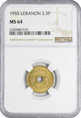 1955 MS64 Lebanon 2 1/2 Piastres NGC KM#20 UNC Single Year Type