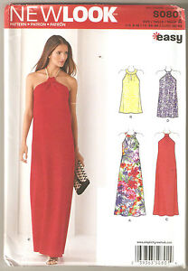 New Look Sewing Pattern 0801 / 6372 Miss Halter Neck Maxi Cocktail Dress Sz 6-18
