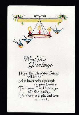 vintage Blue Birds Blessings New Year Greetings postcard