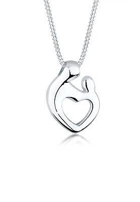 Herz Halskette Mutter Kind 925 Sterling Silber Elli Damen Kette Basic Liebe (Kind Halskette)