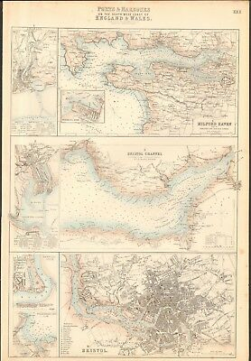 1874 ca LARGE ANTIQUE MAP- BARTHOLOMEW -MILFORD HAVEN,BRISTOL CHANNEL, BRISTOL