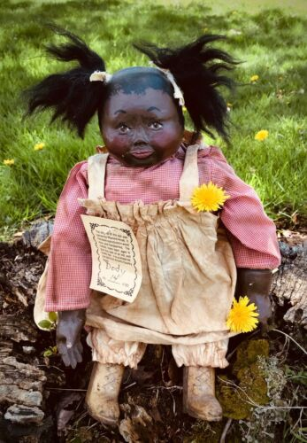 Stunning Genuine Maynard Arnett LIMITED Black Americana Folk Art Wood Resin Doll