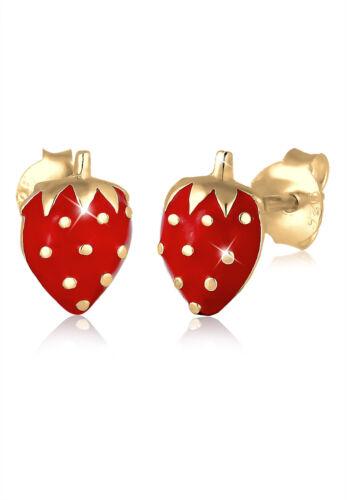 Erdbeere rosevergoldet 925 Sterling Silber 8mm Ohrringe Ohrstecker