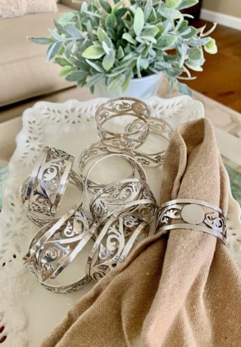11 Sterling Silver Pierced Napkin Rings Taxco Mexico 925 Sterling Monogram Space