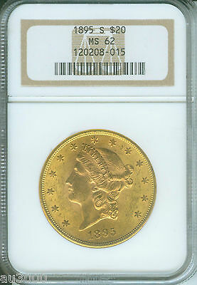 1895 S $20 LIBERTY DOUBLE EAGLE NGC MS 62 GOLD MS62 BETTER DATE OLDER HOLDER