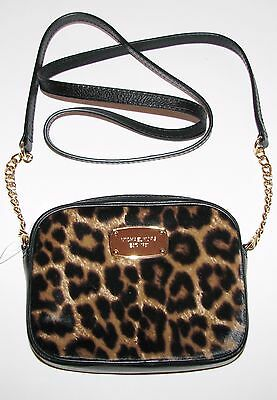 NEW MICHAEL KORS HAMILTON BLACK LEATHER+CHEETAH PRINT+HAIRCALF CROSSBODY,BAG Michael Kors Cheetah Print