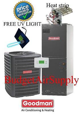 3.5 ton 14 SEER  Goodman HEAT PUMP System GSZ140421+ARUF47D14+FREE UV LIGHT KIT!