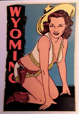 "VINTAGE ORIGINAL 1948 SOUVENIR ""MISS WYOMING"" SEXY COWGIRL PINUP WATER DECAL ART"