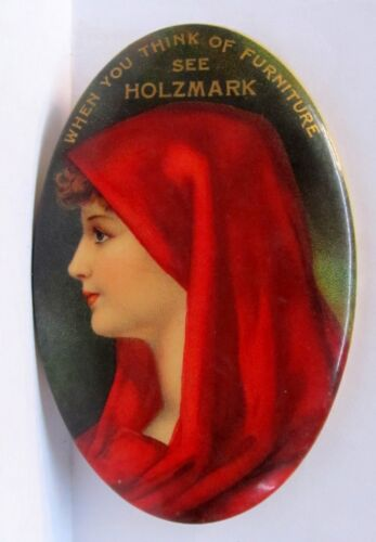 circa 1900 HOLZMARK FURNITURE Pretty Lady advertising celluloid pocket mirror *