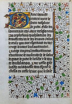 FRANZÖSISCHE STUNDENBUCH HANDSCHRIFT PERGAMENT GOLDBORDÜRE DORNBLATTRANKEN 1430
