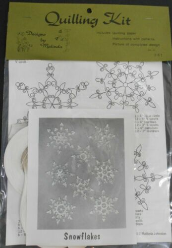 NIP Vintage Quilling Kit SNOWFLAKES By Malinda Paper Rolling Craft 8 Patterns