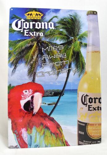 Corona Extra Beer Advertising Tin Sign Miles Away From Ordinary Parrot Bird