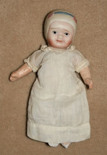 """Antique Nippon Baby Doll 9"""" Bisque Head Pntd Eyes Orig Clothes Compo Body Reducd"""