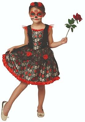 Rubies - Red Rose Day of the Dead, ca.5-10 J. - Halloween Kinder Kostüm, Catrina