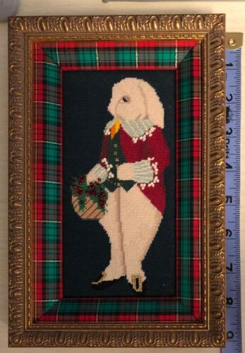 Christmas framed Needlepoint of Bunny and berry basket Really Sweet