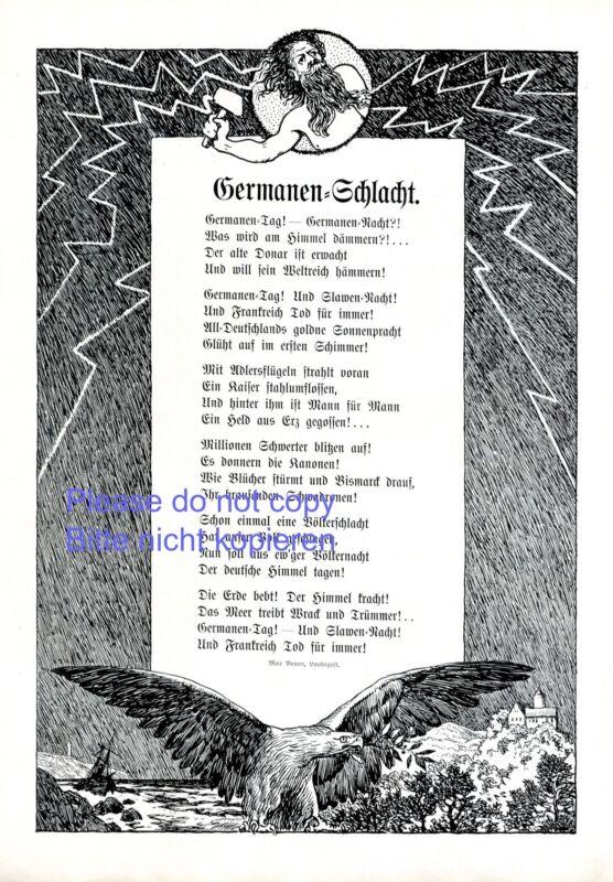 Germanic battle german art print & peom 1914 Thor´s hammer Max Bewer +