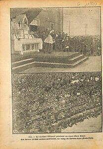 "Cardinal O' Connel Mass Soldiers US Army Camp Devens-Ayre WWI 1918 ILLUSTRATION - France - Commentaires du vendeur : ""OCCASION"" - France"