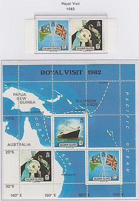 Solomon Islands Royal Visit 1982 Miniature Sheet plus Pair of Stamps Mint