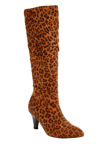 Womens leopard 11 WW Jackie High Heel Boot Pull on Brand New in box
