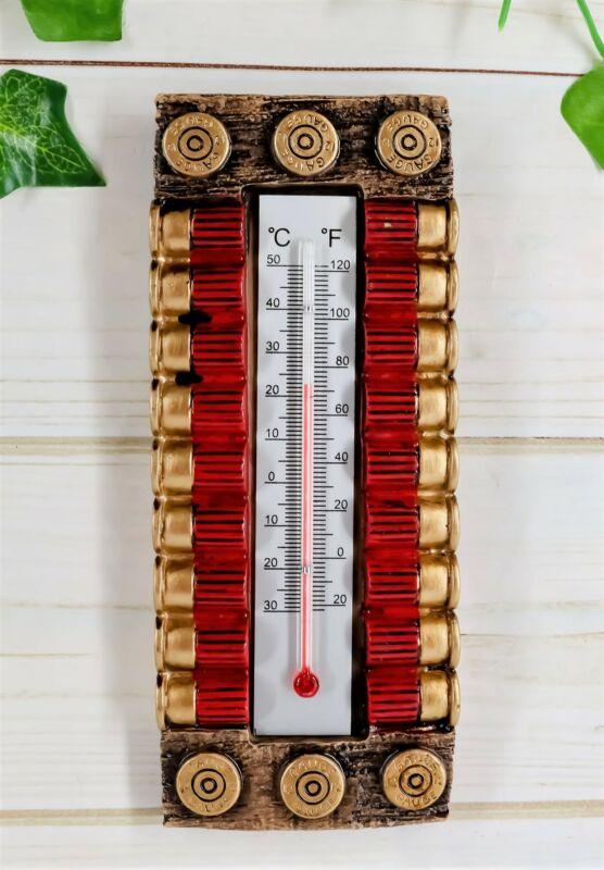 "Ebros Western 12 Gauge Shotgun Shell Ammo Indoor Wall Thermometer Figurine 7.5""H"