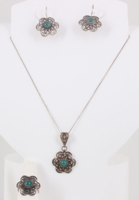 STERLING GREEN STONE FILIGREE RING EARRING NECKLACE JEWELRY SET VINTAGE 925 2066