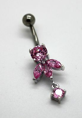 Belly button Ring 925 Sterling Silver Beautiful Flower Silver 925  925 Sterling Silver Belly Ring
