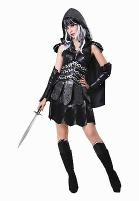 Adult Womens Medieval Dark Warrior Lady Fancy Dress One Size - Womens Dark Lady Kostüm