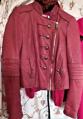 Lederjacke rot, Rich & Royal, Piratenstil, Bikerstil, sehr edel und cool, Gr. 36