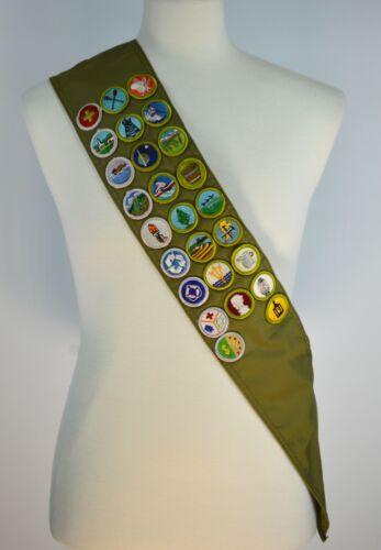 Vintage Boy Scout 26 Merit Badge Sash BSA Collectible Memorabilia