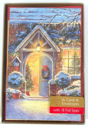 Boxed Christmas Holiday Greeting Cards Winter Snowy House Scene Foil Seal 15 Ct