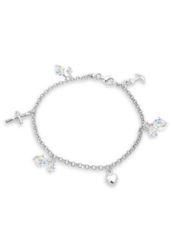 Elli Armband Kreuz Herz Anker Swarovski® Kristalle Silber