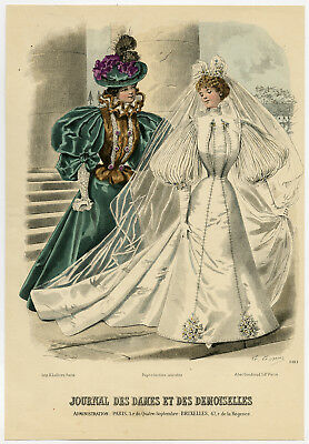Antique Print-FASHION-COSTUME-WEDDING DRESS-WOMAN-PL 3181-Lefevre-c. 1860