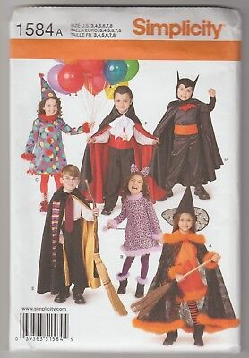 SEWING PATTERN Assorted Halloween Costumes Boy & Girls Sz 3 to 8 Simplicity 1584 - Halloween Costumes To Sew