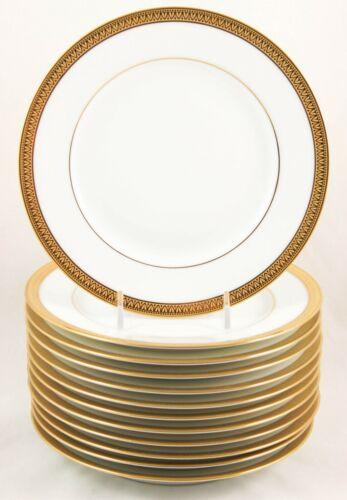 MINT SET 6 SALAD PLATES ROBERT HAVILAND PARLON LIMOGES MALMAISON GOLD ENCRUSTED
