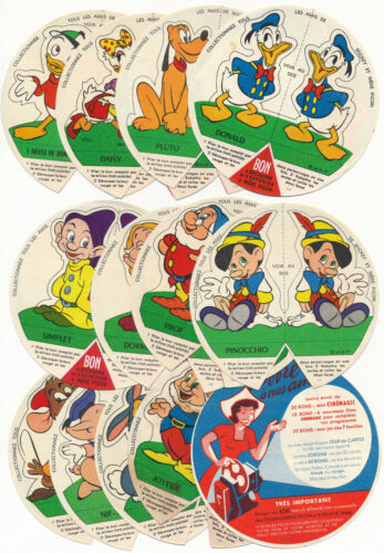 1950s Mere Picon DISNEY CUTOUT STANDUP CARD Lot x13 Snow White Pluto Mickey Pals