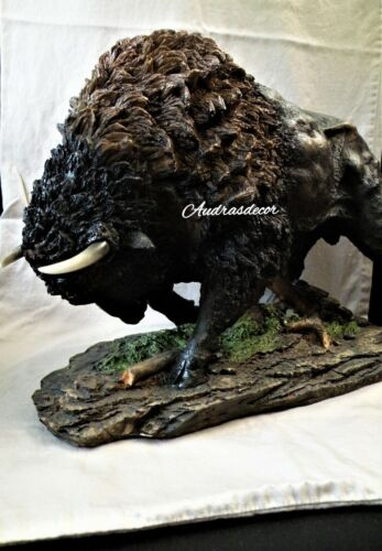 "Large Plains Charging Buffalo Statue Sculpture Western 19"" Long New"