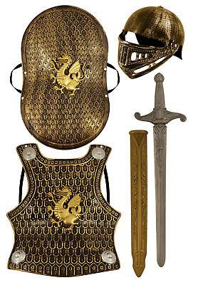 Ritter Rüstung Satz - Kinder Kostüm Helm Schild Schwert Drachen - Drache Ritter Kinder Kostüm