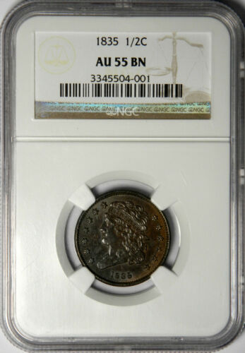 1835 HALF CENT ~ NGC AU55 BN ~ PRICED RIGHT!