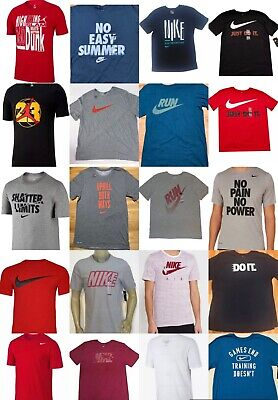 Men's NIKE T-SHIRT S-4XL Graphic Swoosh-Just-Do-It Logo Crew Athletic Fit Tee Nike Graphic Tee