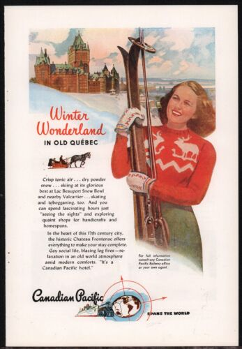 1946 CANADIAN PACIFIC Skiing Old Quebec Canada Skier Ski Travel AD