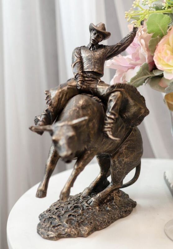 """Old World Rustic Western Cowboy Riding A Rearing Angry Bull Rodeo Statue 10""""H"""
